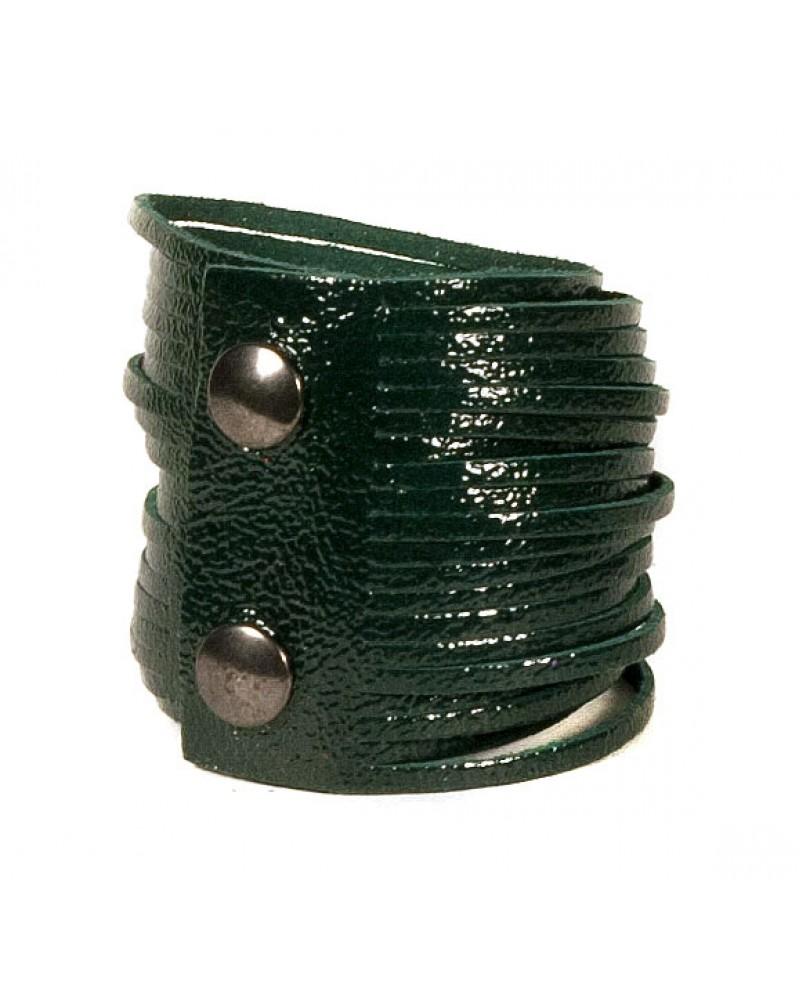 Темно-зеленый кожаный браслет Braccialetto