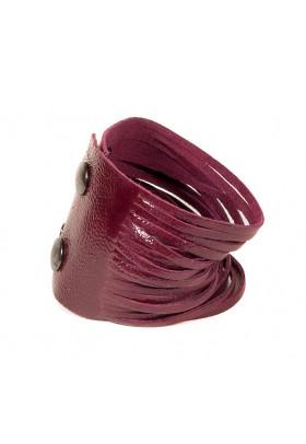 Темно-красный кожаный браслет Braccialetto
