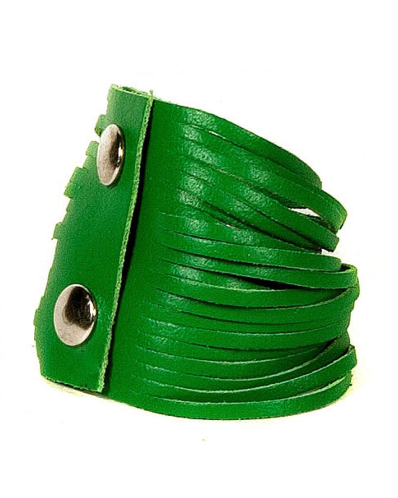Зеленый кожаный браслет Braccialetto