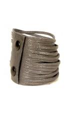 Серый кожаный браслет (лаковая кожа) Braccialetto
