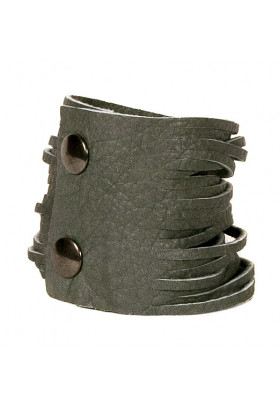 Серый кожаный браслет (матовый) Braccialetto