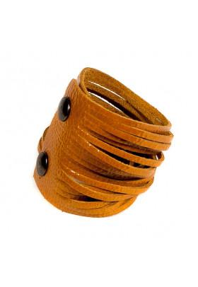 Оранжевый кожаный браслет Braccialetto
