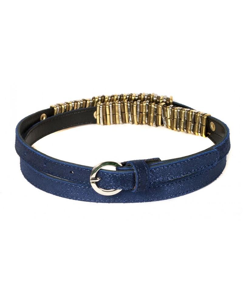 Узкий ремень из замши синего цвета (ширина 1,5 см) Camoscio 15 anellini BL