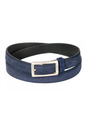 Узкий ремень из замши синего цвета (ширина 2,5 см) Camoscio 25