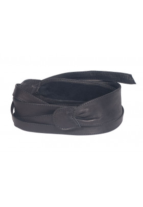 Широкий кожаный пояс черного цвета (кушак) Fusciacca Roma pelle