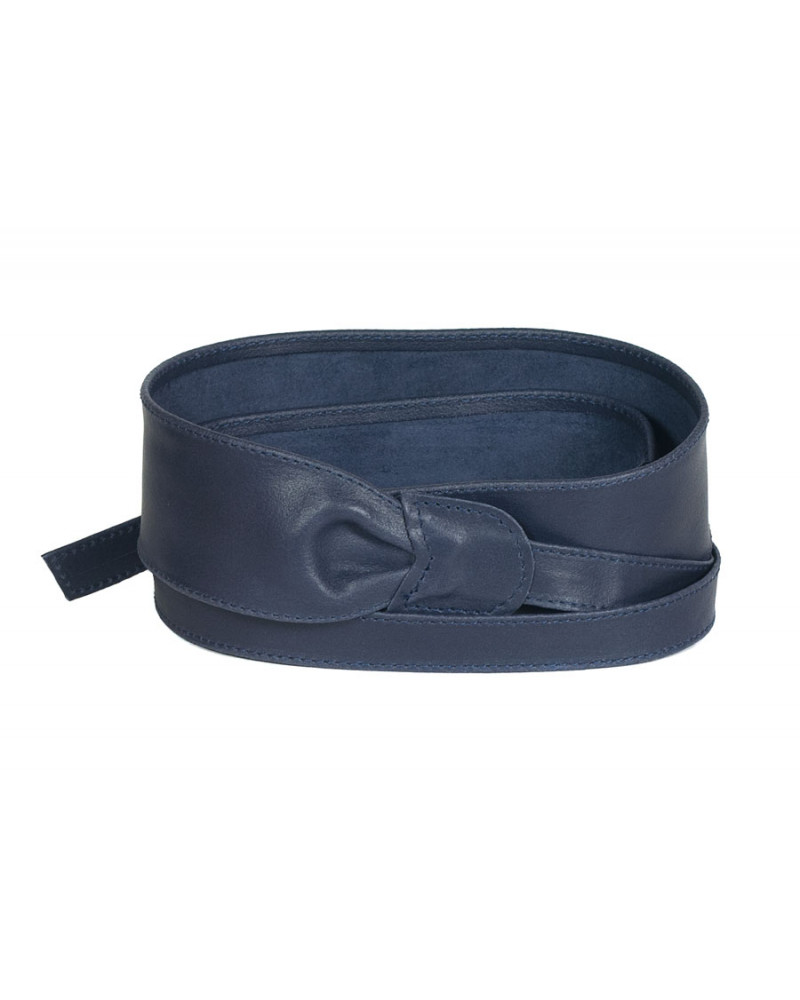 Широкий кожаный пояс синего цвета (кушак) Fusciacca Roma pelle