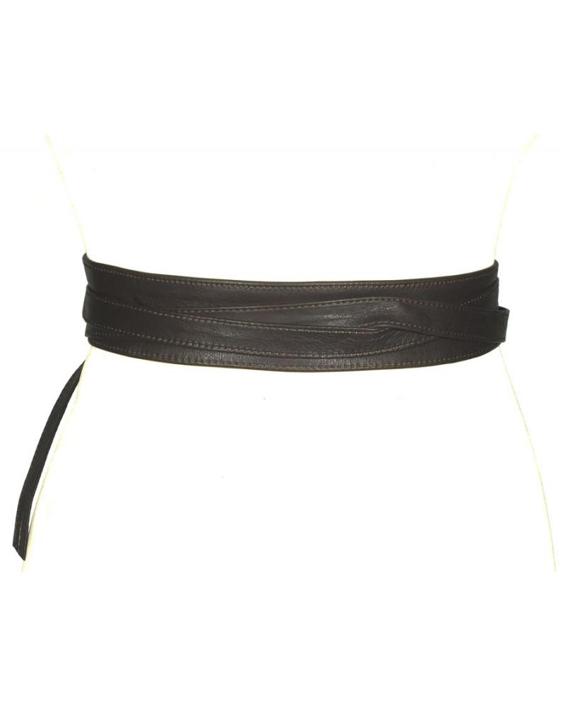 Широкий кожаный пояс темно-коричневого цвета (кушак) Fusciacca Roma pelle
