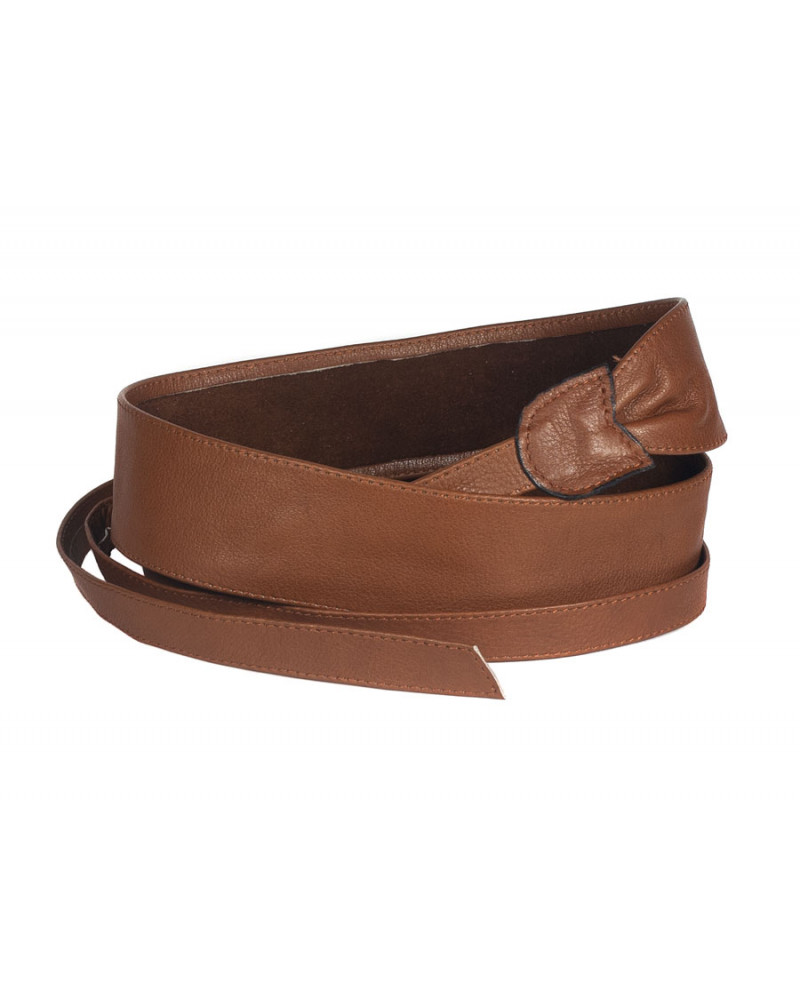 Широкий кожаный пояс цвета коньяк (кушак) Fusciacca Roma pelle