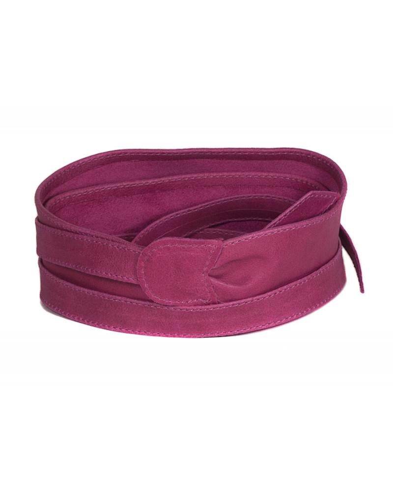 Широкий кожаный пояс розового цвета (кушак) Fusciacca Roma pelle