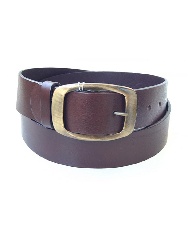 Широкий коричневый кожаный ремень для джинсов (ширина 4,5 см) Groppone 45