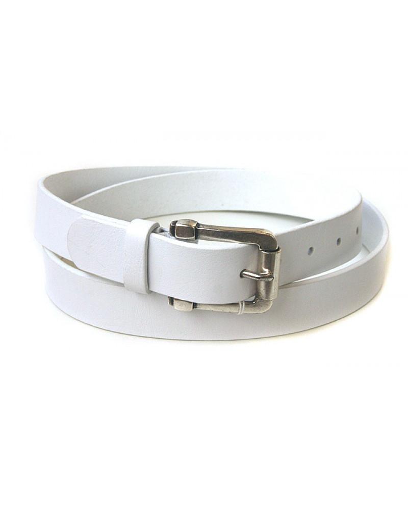 Брючный кожаный ремень белого цвета (ширина 3 см) Groppone 3
