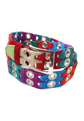 Многоцветный ремень из замши (ширина 4 см) Multicolor occhielli