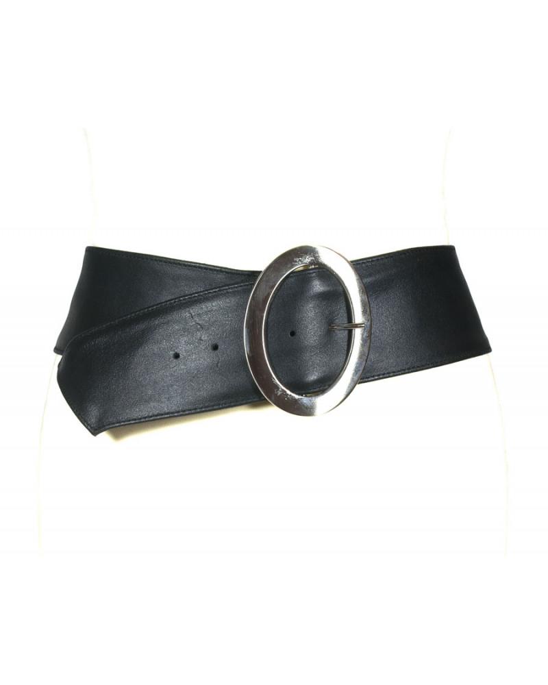 Широкий черный кожаный пояс Nappa O