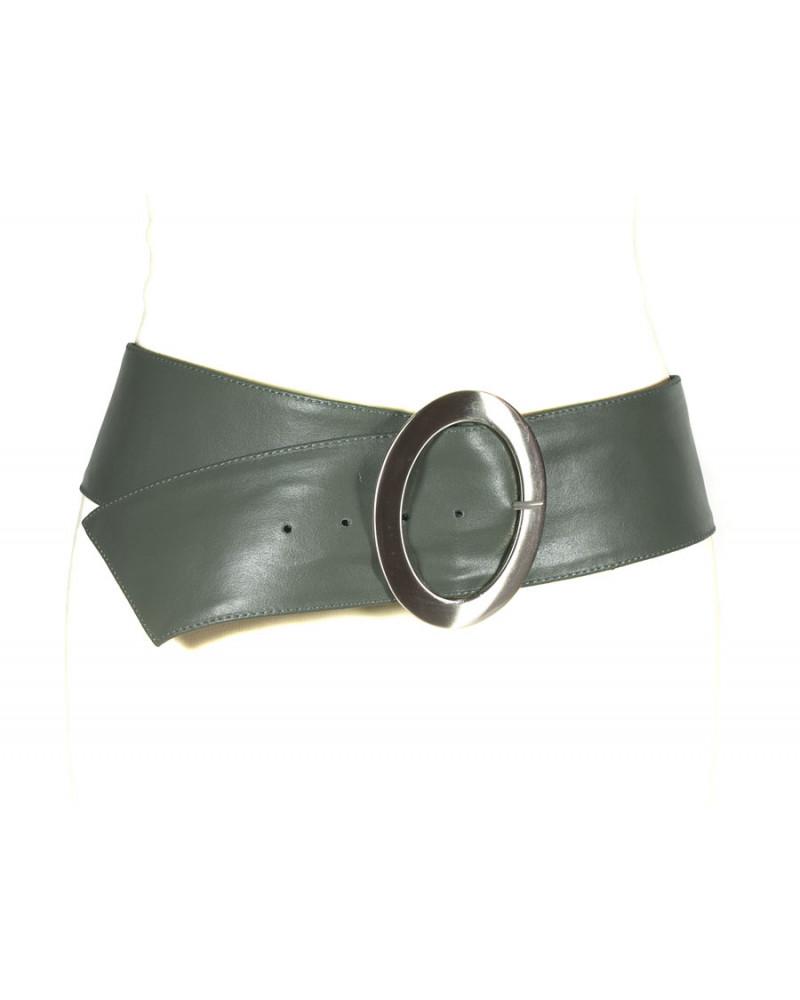 Широкий темно-серый кожаный ремень Nappa O