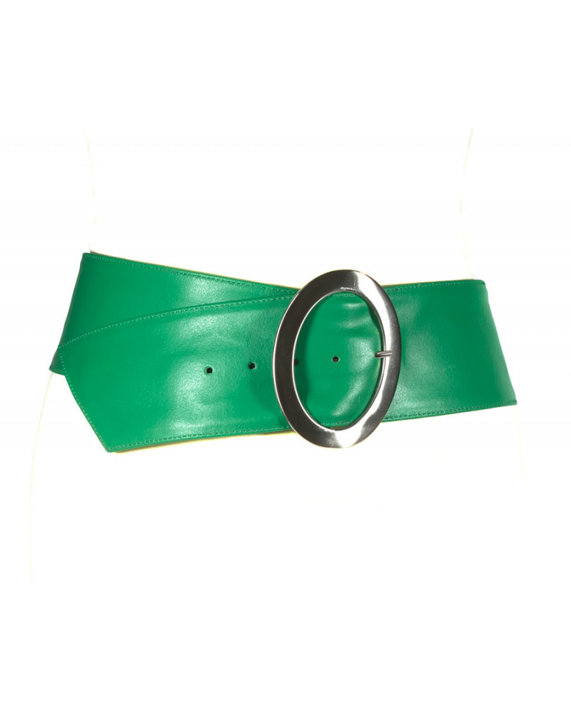 Широкий зеленый кожаный ремень Nappa O
