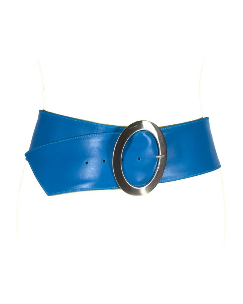 Широкий голубой кожаный ремень Nappa O
