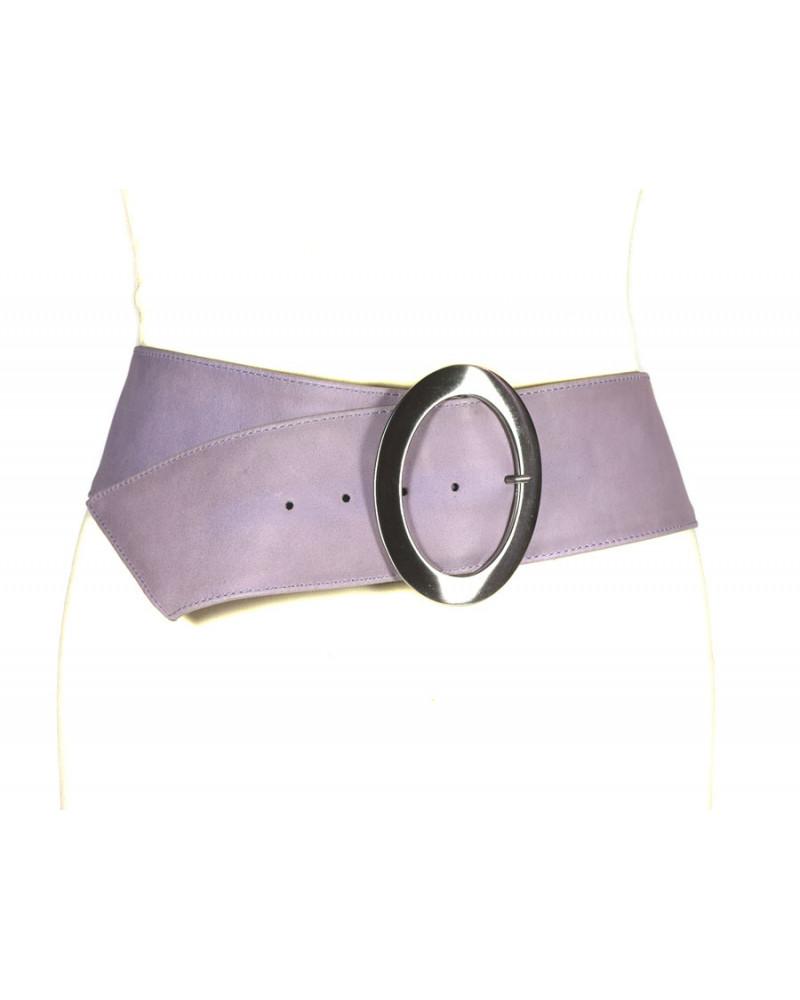 Широкий розовый кожаный ремень Nappa O