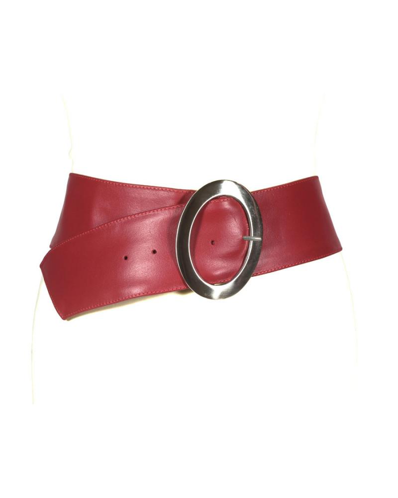 Широкий красный кожаный ремень Nappa O