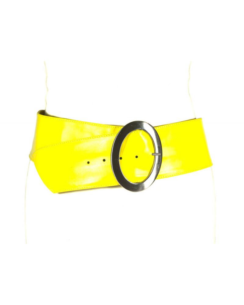 Широкий желтый кожаный ремень Nappa O