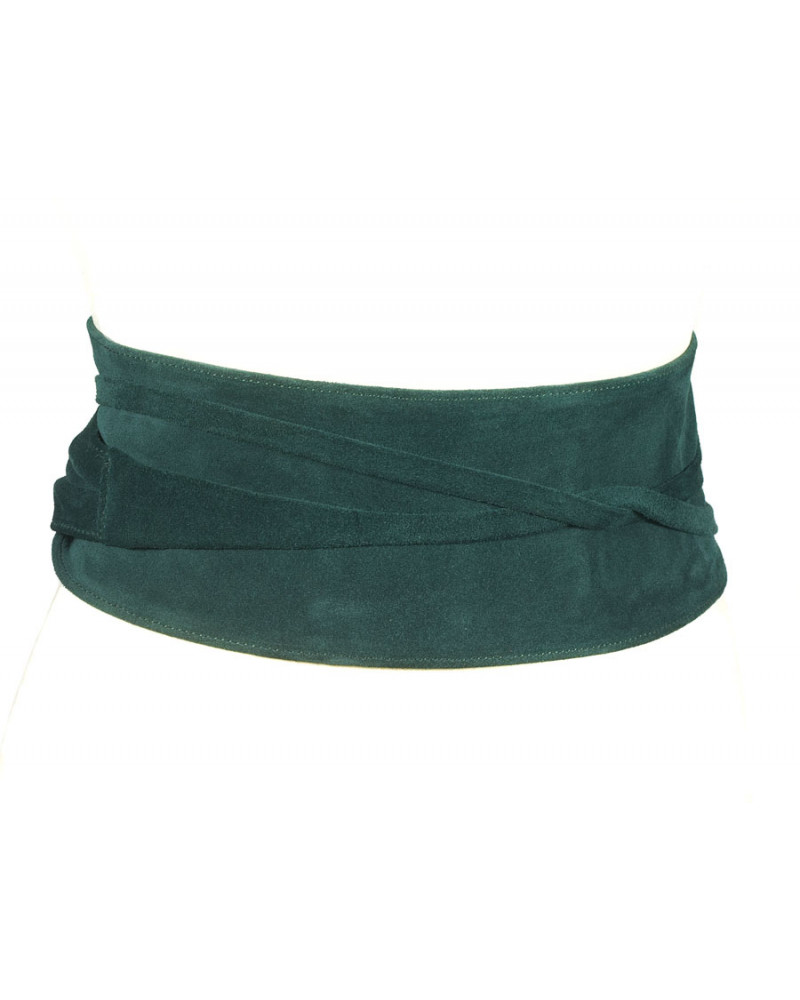 Широкий пояс из замши темно-зеленого цвета (кушак) Nodo Alta camoscio