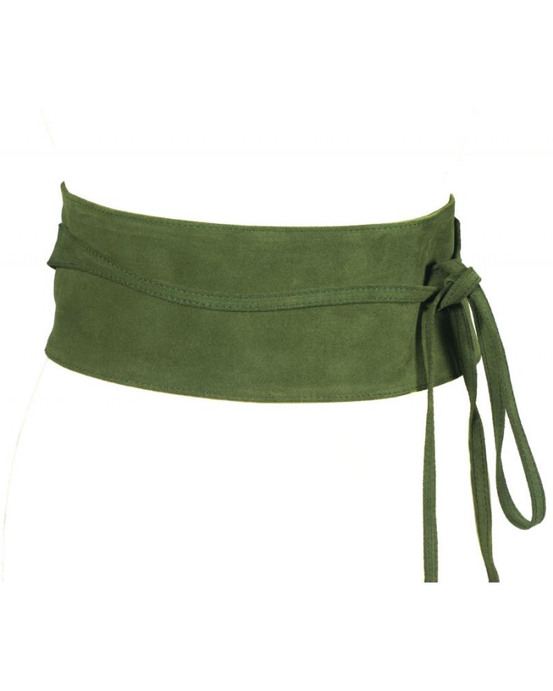 Широкий пояс из замши светло-зеленого цвета (кушак) Nodo Alta camoscio