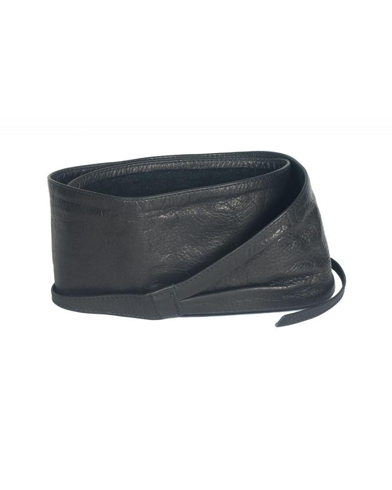 Широкий кожаный пояс черного цвета (кушак) Nodo Alta pelle