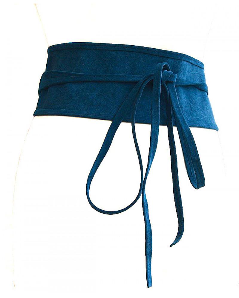 Широкий пояс из замши синего цвета (кушак) Nodo Alta camoscio