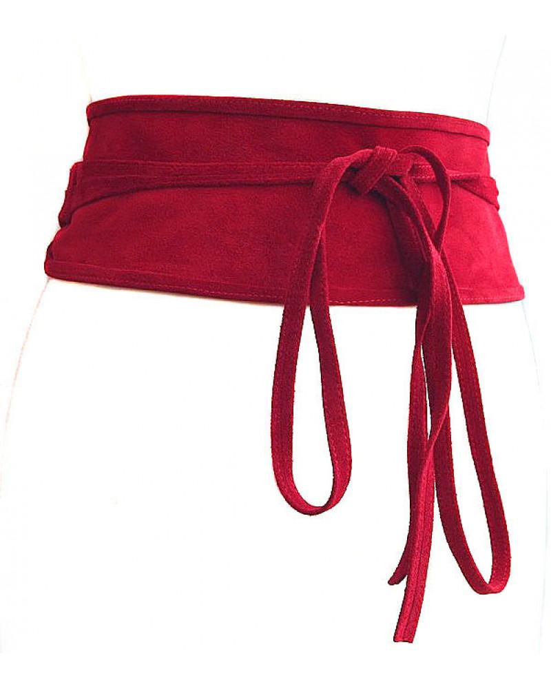 Широкий пояс из замши красного цвета (кушак) Nodo Alta camoscio