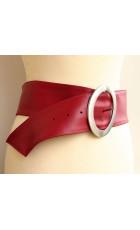 Широкий кожаный красный ремень (ширина 8 см) Nodo Alta pelle