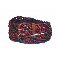 Многоцветный ремень из плетеной кожи (ширина 3,5 см) Onda Marina 35