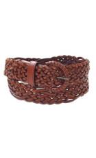 Ремень из плетеной кожи светло-коричневого цвета (ширина 3,5 см) Onda Marina 35