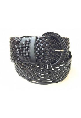 Широкий черный ремень из плетеной кожи (ширина 6 см) Onda Marina