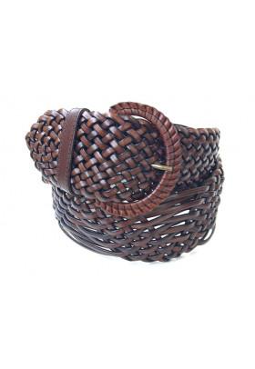 Широкий коричневый ремень из плетеной кожи (ширина 6 см) Onda Marina 6