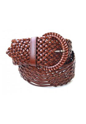 Широкий светло-коричневый ремень из плетеной кожи (ширина 6 см) Onda Marina