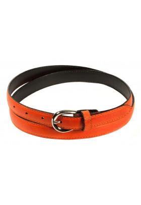 Узкий ремень из кожи оранжевого цвета (ширина 2 см) Pelle 2