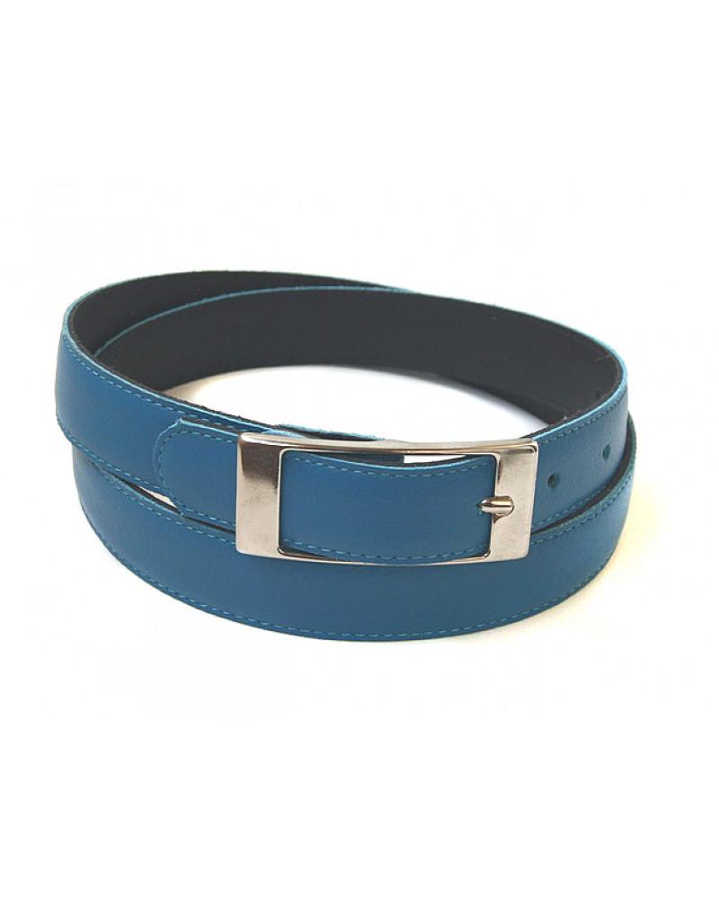Узкий ремень из кожи голубого цвета (ширина 2,5 см) Pelle 25 Fibbia Rettango Lare
