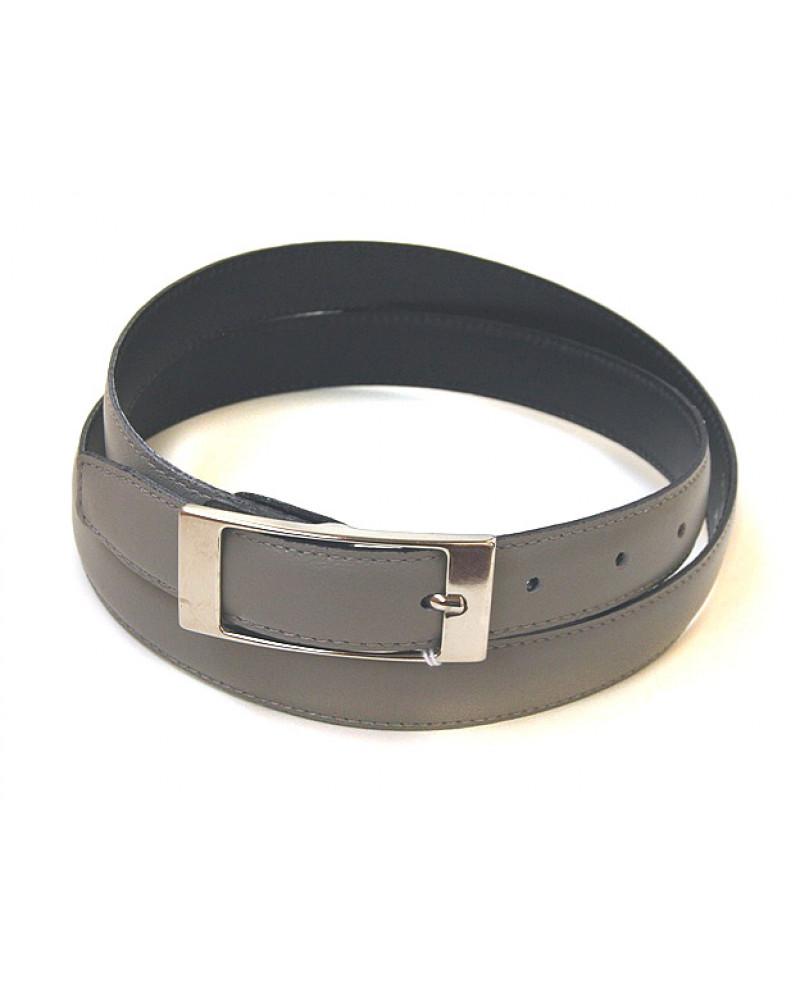 Узкий ремень из кожи серого цвета (ширина 2,5 см)