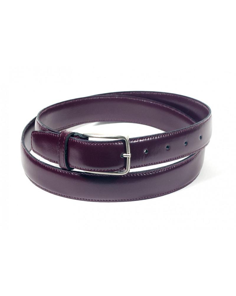 Брючный ремень из лаковой кожи бордового цвета (ширина 3 см) Pelle 3 liscia