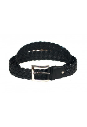 Ремень из плетеной кожи черного цвета (ширина 4 см) Treccia uomo 4 spiga