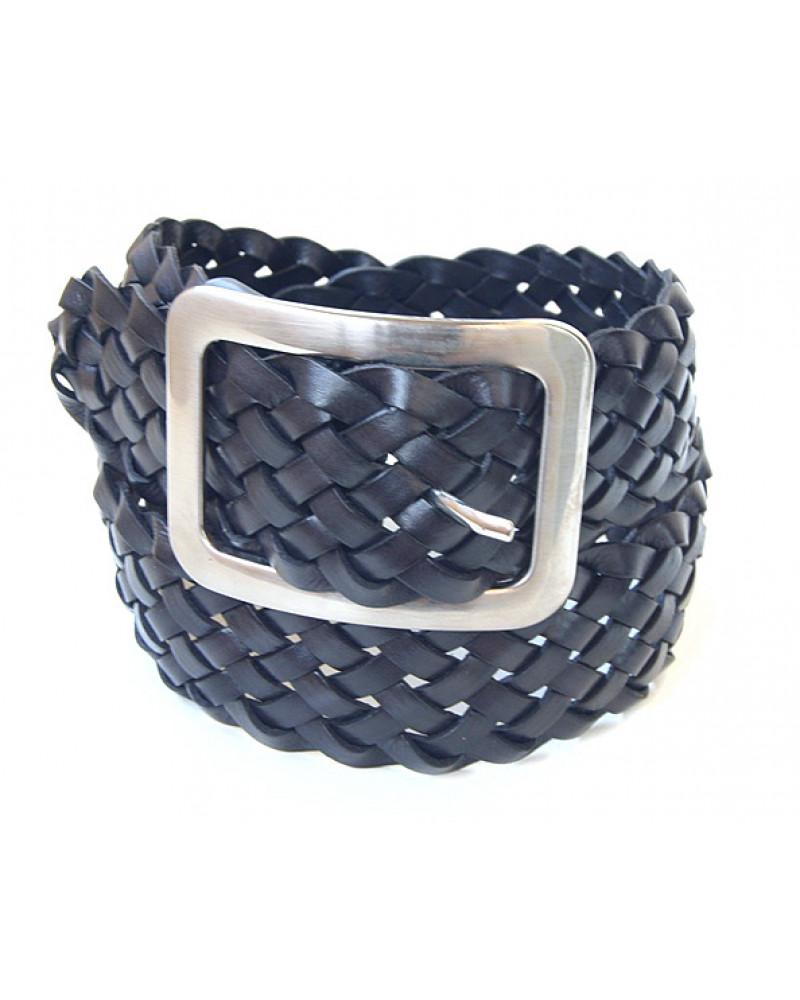 Широкий черный ремень из плетеной кожи (ширина 6 см) Treccia America