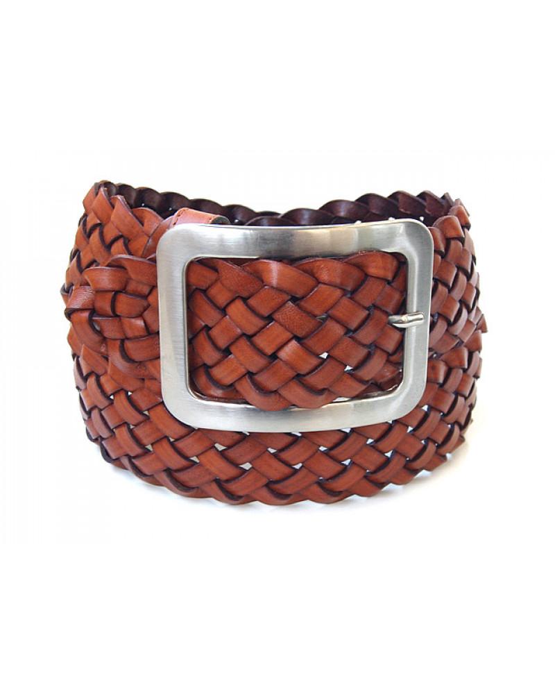 Широкий светло-коричневый ремень из плетеной кожи, 6 см.