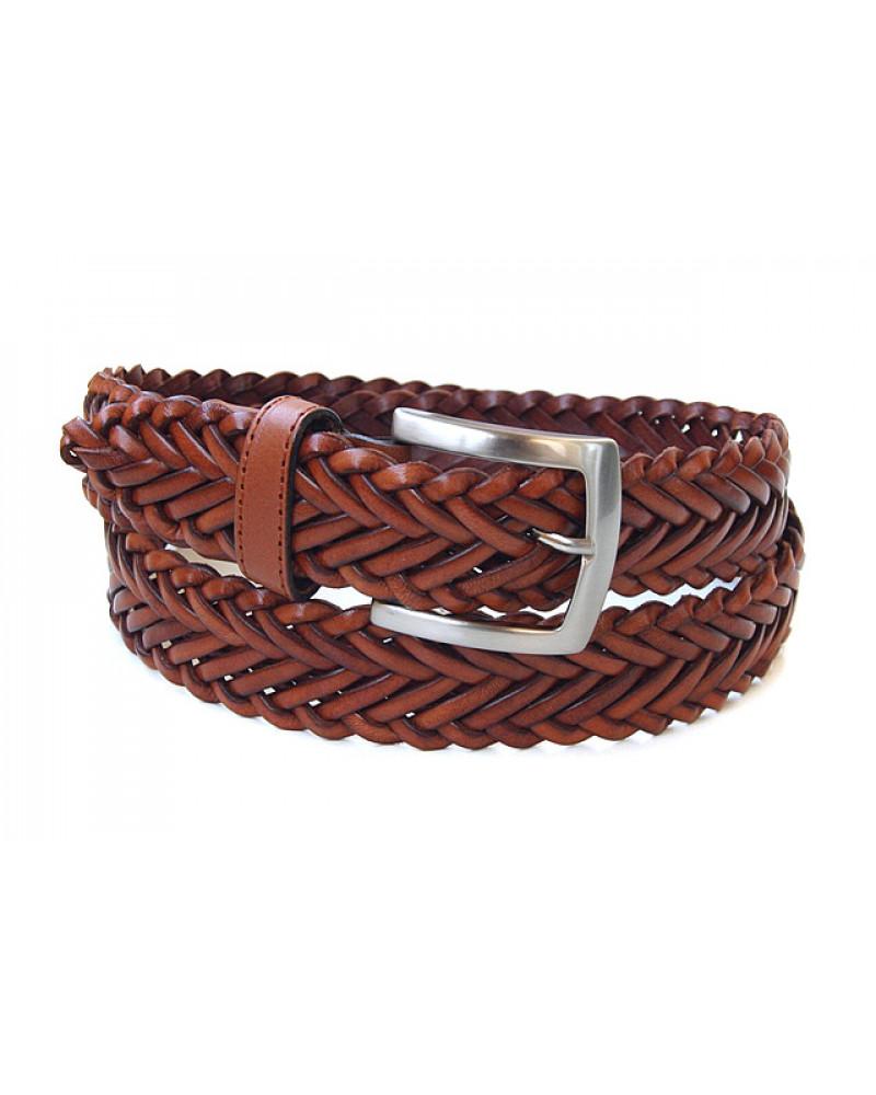 Ремень из плетеной кожи коричневого цвета (ширина 3,5 см) Treccia uomo 35 spiga
