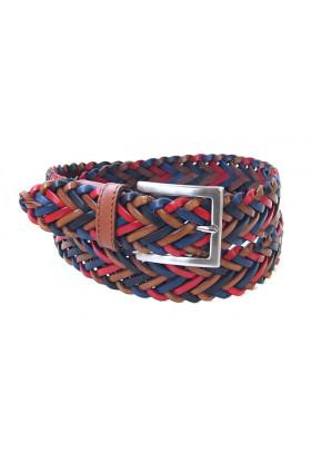 Многоцветный ремень из плетеной кожи (ширина 3,5 см) Treccia uomo 35 spiga