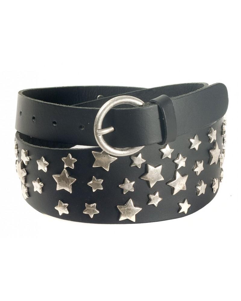Черный ремень из кожи c металлическими звездами Bustino pan di stelle